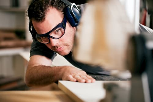 Woodworker With Safetyglasses