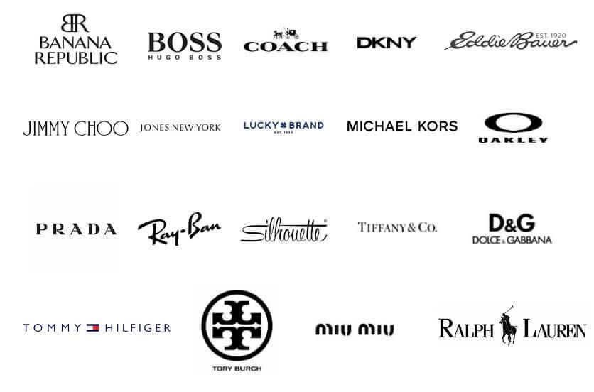 Eyeglass frame designer logos